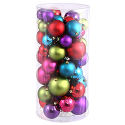 Shiny And Matte Multi Christmas Ornament Assorted Sizes Box of 50