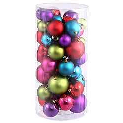 Value 50 Piece Shiny and Matte Multi Color Round Christmas Ball Ornament Assorted Sizes