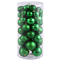 Value 50 Piece Shiny and Matte Green Round Christmas Ball Ornament Assorted Sizes