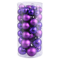 Value 50 Piece Shiny and Matte Purple Round Christmas Ball Ornament Assorted Sizes