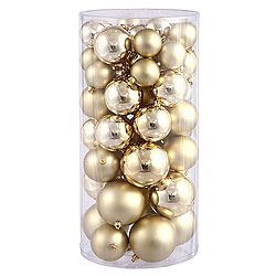 Value 50 Piece Shiny and Matte Gold Round Christmas Ball Ornament Assorted Sizes