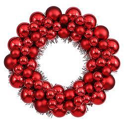 12 Inch Red Ball Wreath 2 per Set