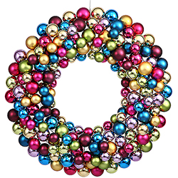 24 Inch Mu Light i Colored Ball Wreath
