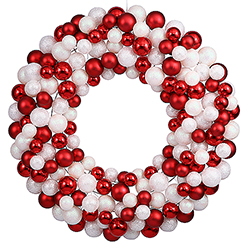24 Inch Candy Cane Christmas Ornament Wreath Unlit