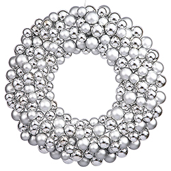 24 Inch Silver Christmas Ornament Wreath Unlit