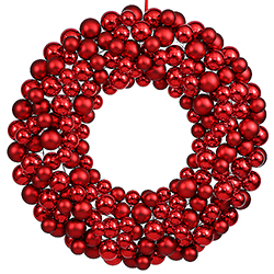 36 Inch Red Christmas Ornament Wreath Unlit