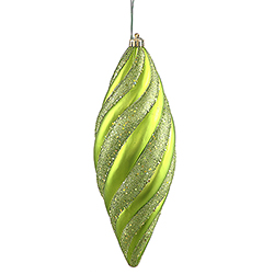12 Inch Lime Matte with Glitter Spiral Christmas Drop Ornament 3 per Set