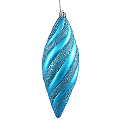 12 Inch Baby Blue Matte with Glitter Spiral Christmas Drop Ornament 3 per Set