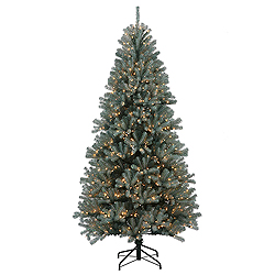 6.5 Foot Blue Crystal Artificial Christmas Tree 650 DuraLit Clear Lights