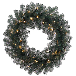 24 Inch Blue Crystal Pine Wreath 50 LED Warm White Lights