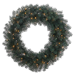 3 Foot Blue Crystal Wreath 100 DuraLit Clear Lights
