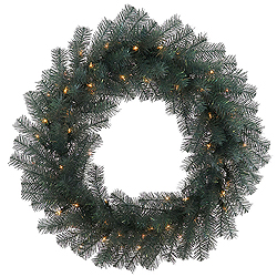 3 Foot Blue Crystal Pine Wreath 100 LED Warm White Lights