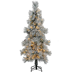 8 Foot Flocked Stone Pine Artificial Christmas Tree 400 LED Warm White Lights