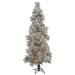 9 Foot Flocked Stone Artificial Christmas Tree 550 DuraLit Clear Lights
