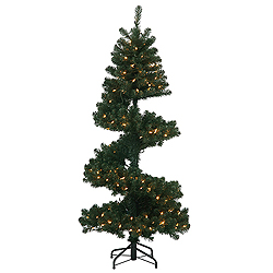 5.5 Foot Spiral Pine Artificial Christmas Tree 200 DuraLit Clear Lights