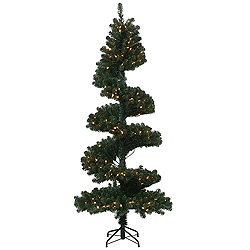 7 Foot Spiral Pine Artificial Christmas Tree 300 DuraLit Clear Lights