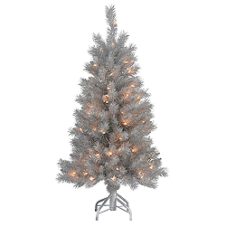4 Foot Silver White Pine Artificial Christmas Tree 100 DuraLit Clear Lights