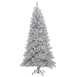 7.5 Foot Silver White Pine Artificial Christmas Tree Unlit