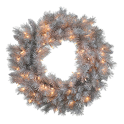 4 Foot Silver White Wreath 200 Clear Lights