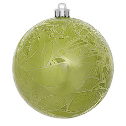 3 Inch Lime Crackle Round Ornament 12 per Set
