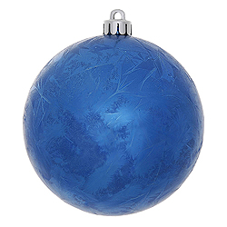 4 Inch Blue Crackle Christmas Ball Ornament 6 per Set