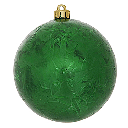 4 Inch Green Crackle Christmas Ball Ornament 6 per Set