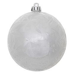 4 Inch Silver Crackle Christmas Ball Ornament 6 per Set
