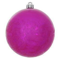 4 Inch Magenta Crackle Christmas Ball Ornament 6 per Set