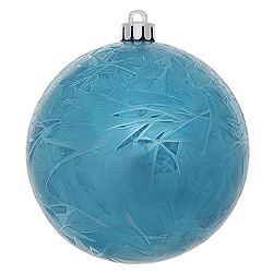 4 Inch Turquoise Crackle Christmas Ball Ornament 6 per Set