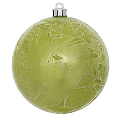 4 Inch Lime Crackle Christmas Ball Ornament 6 per Set