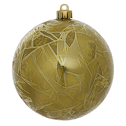 4 Inch Olive Crackle Christmas Ball Ornament 6 per Set