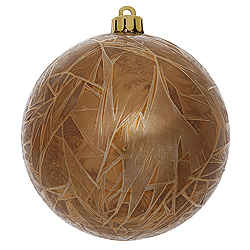 4 Inch Mocha Crackle Christmas Ball Ornament 6 per Set