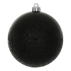 4 Inch Black Crackle Christmas Ball Ornament 6 per Set