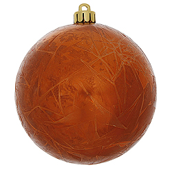 4 Inch Burnish Orange Crackle Christmas Ball Ornament 6 per Set