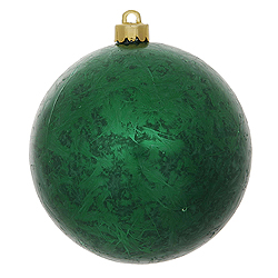 4 Inch Emerald Crackle Christmas Ball Ornament 6 per Set