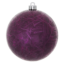 4 Inch Plum Crackle Christmas Ball Ornament 6 per Set