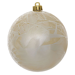 6 Inch Champagne Crackle Ball Ornament 4 per Set