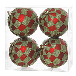 4 Inch Red And Lime Check Glitter Round Shatterproof UV Christmas Ball Ornament 4 per Set