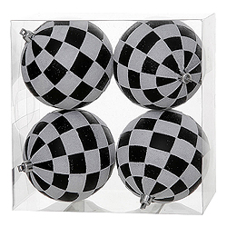 4.7 inch Black And White Check Glitter Ornament - Box of 4