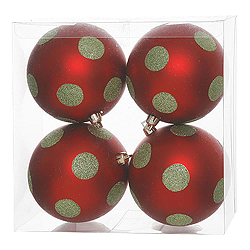 4.7 Inch Red And Lime Polka Dot Glitter Ball 4 per Set