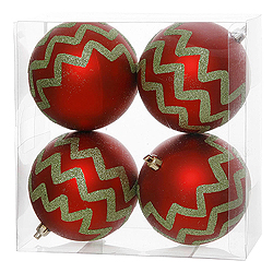 4 Inch Red And Lime Chevron Glitter Round Shatterproof UV Christmas Ball Ornament 4 per Set