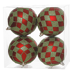 4 Inch Red And Lime Diamond Glitter Round Shatterproof UV Christmas Ball Ornament 4 per Set
