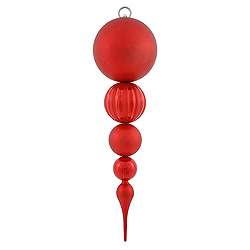 20.5 Inch Red Matte Finish Finial Christmas Ornament Shatterproof UV