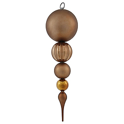 20.5 Inch Mocha Matte Finish Finial Christmas Ornament Shatterproof UV