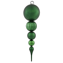 20.5 Inch Emerald Matte Finish Finial Christmas Ornament Shatterproof UV