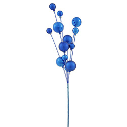 3 Blue Shiny and Matte Ball Decorative Artificial Christmas Spray UV Resistant