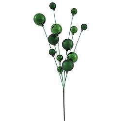 3 Emerald Green Shiny and Matte Ball Decorative Artificial Christmas Spray UV Resistant