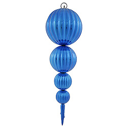26 Inch Blue Shiny Pumpkin Finial Christmas Ornament Shatterproof UV