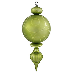 21 Inch Lime Matte Glossy Swirl Christmas Finial Ornament Shatterproof UV