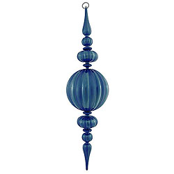 31 Inch Sea Blue Matte Glossy Pumpkin Finial Christmas Ornament Shatterproof UV